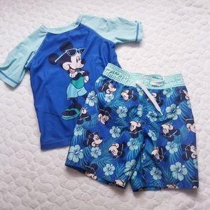 Old Navy Disney Mickey swim trunks shirt rashguard